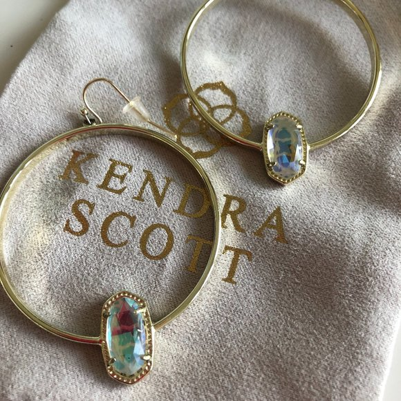 Kendra Scott Elora Hoops - GOLD - Dichroic Glass